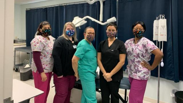 Wake County nurses recieve masks from local Mask from heros project.The virtual project has already distributed thousands of masks. (Photo from Anna Campbell, media contact for Masks for Heros project).
