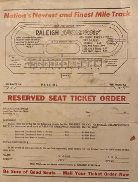Document from the Raleigh Speedway. Image courtesy of David Bass.