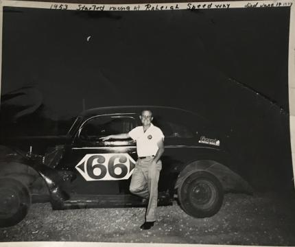 Rufus Crumpler at the Raleigh Speedway in 1953. Image Courtesy of Pettis Montague, Edith Crumpler
