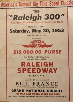 Raleigh Speedway advertisement. Image courtesy of David Bass.