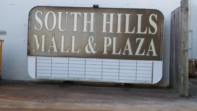 The sign for South Hills Mall. Image courtesy of Tara Cowan