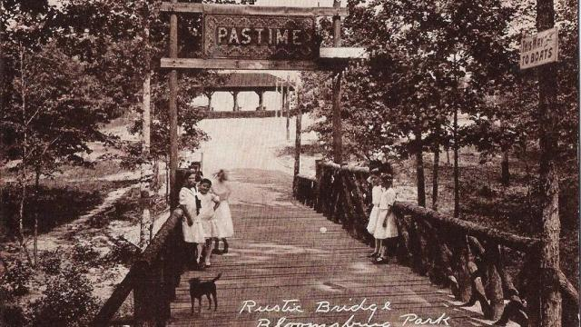 Rustic Pastime Bridge at Bloomsburg Park in Raleigh, NC