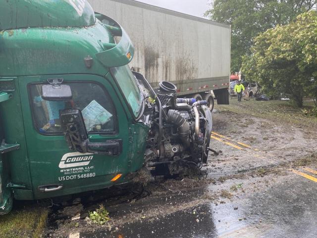 An SUV crashes into a tractor-trailer near Selma on NC Highway 39<br/>Photographer: John Payne