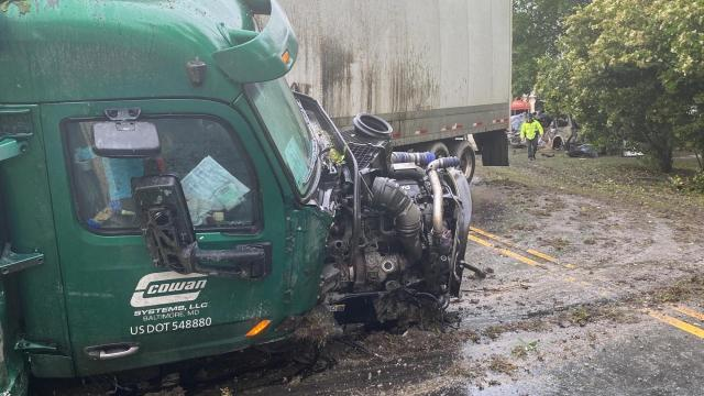 An SUV crashes into a tractor-trailer near Selma on NC Highway 39