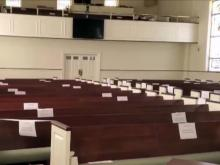 Hand sanitizer, blocked off pews to greet congregations as they return to church