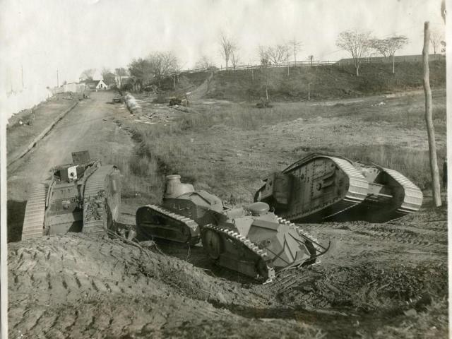 Camp Polk brought tanks to Raleigh during WWI. It would later become the Raleigh Rose Gardens and Raleigh Little Theatre. Image courtesy of the State Archives of North Carolina.