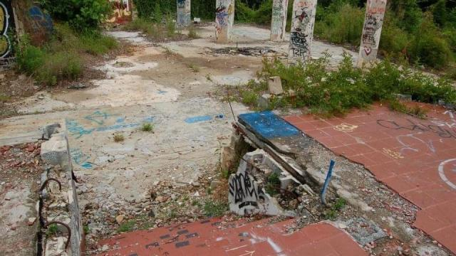 The remains of Kidd Brewer's house and Crossroads restaurant. Photo courtesy of Beth Nackashi