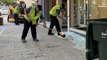 IMAGES: Downtown Raleigh cleanup begins after night of violent protests