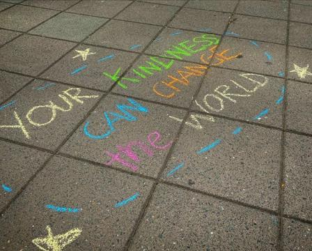 People chalked messages of kindness