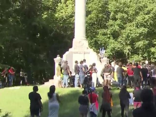 Protesters gather at Confederate monument in Rocky Mount