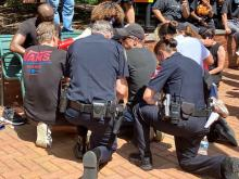 Police join protesters in Cary, June 6, 2020