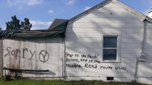 IMAGES: Harnett County church vandalized with a swastika, obscenities, anti-gay messages