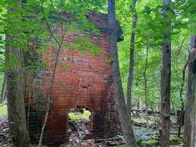 Exploring the abandoned remains of the Eno River pump station.