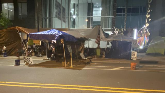 Durham Police finally arrest protesters after letting them 'block' their headquarters (and traffic) with wooden pallets for 10 days