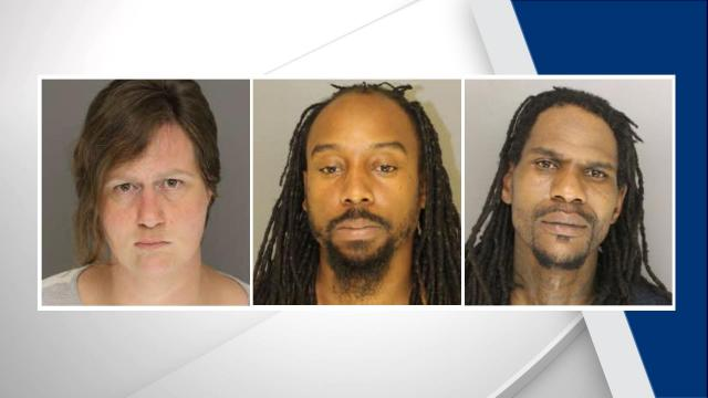 Laura Nicole McLean, Edward Jarmaine Allbrooks and Patrick Jamar Stubbs (Moore County Sheriff's Office photos)