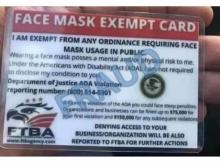 Fraud face mask exempt card