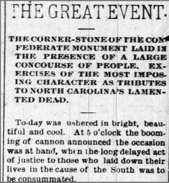 Raleigh newspaper that mentions a time capsule in the Confederate monument