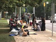 Protesters camp out on sidewalk outside governor's mansion in downtown Raleigh