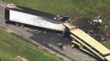 IMAGES: Tractor-trailer crashes in 3 places make for deadly day on Triangle highways