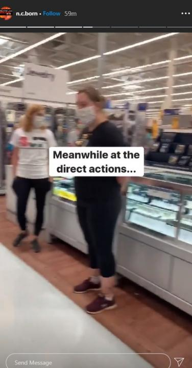 N.C. Born's Instagram story showed protesters chanting loudly inside a Walmart.