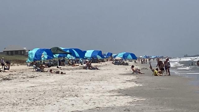 Shibumi Shades lined the shore at Atlantic Beach on Saturday, June 27, 2020. Photo by Susan Ladd