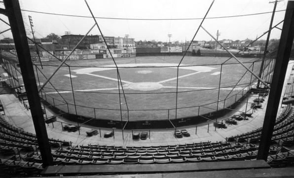 Devereux Meadow baseball stadium in downtown Raleigh. Courtesy of the State Archives of North Carolina.