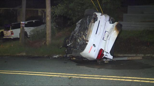 Woman arrested after fiery crash near downtown Durham