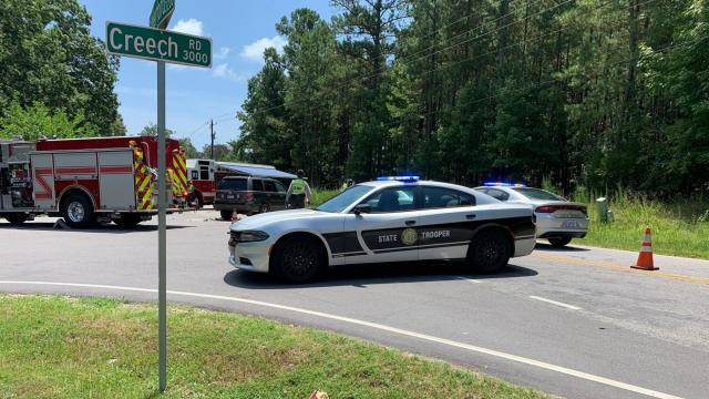 Car crashes with motorcyclist on Creech Road in Wake County. Officials are at the scene.