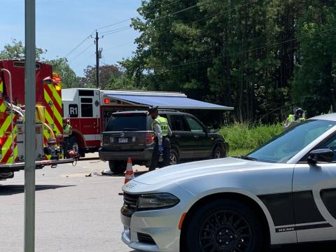 A motorcyclist was driving in Wake County when he crashed with a car Saturday afternoon. He was transported to WakeMed with serious injuries.