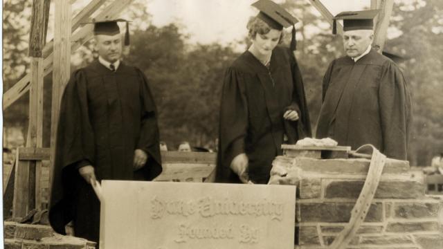 Doris Duke laying cornerstone at Duke University, June 5, 1928