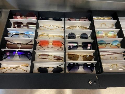 Fake sunglassess picked up at a traffic stop by Mooresville Police
