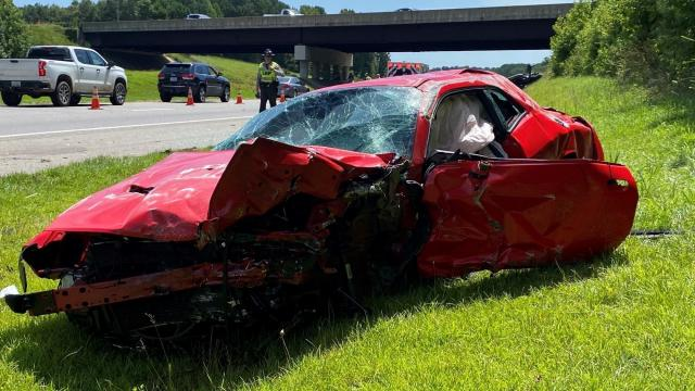 Car crushed in accident on US 70