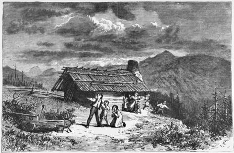 """Harper's Weekly illustration from 11 Apr. 1874 depicting """"terrified settlers"""" near Bald Mountain in Rutherford County during a large earthquake. Image courtesy of the North Carolina Collection, University of North Carolina at Chapel Hill Library"""