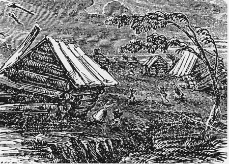 Woodcut of the earthquake in New Madrid in 1811-12