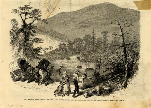 Illustration of Rumbling Bald Mountain from its months-long series of earthquakes in 1874.