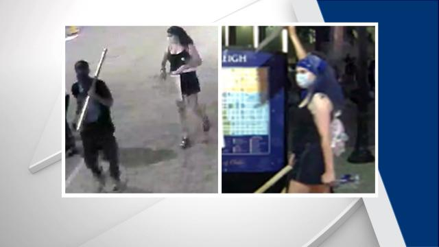 Federal authorities are seeking two people in connection with damage done to two federal buildings in downtown Raleigh during a May 31, 2020, protest.