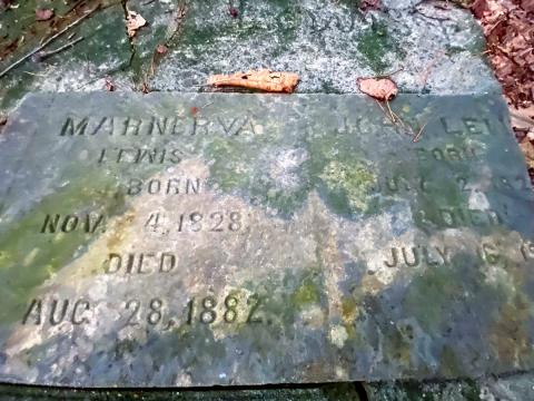 Marnerva and John Lewis buried in the hidden Lewis Family cemetery in a Cary subdivision
