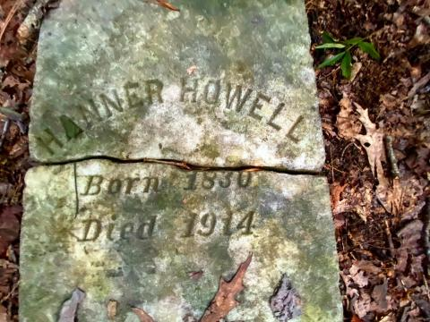 Hanner Howell has one of the only readable headstones in the cemetery.