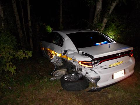 Photo of Nash County Sheriff's Officer's car that was crushed in collision on Wednesday morning