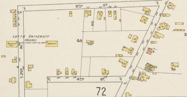 "Latta University noted on Sanborn Map, 1914 Photo Credit: Sanborn Map Company. Raleigh, Wake County, NC, 1914. New York: Sanborn Map Company, 1914. ""Sanborn Fire Insurance Maps"""