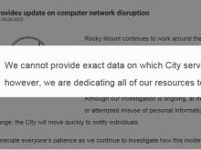 Rocky Mount city computers, bill pay, disrupted