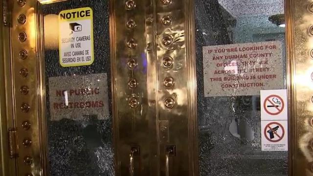Durham County Courthouse doors shattered