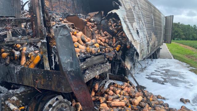 Tractor-trailer hauling squash catches fire