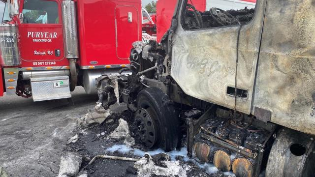 Truck destroyed after catching fire in Johnston County