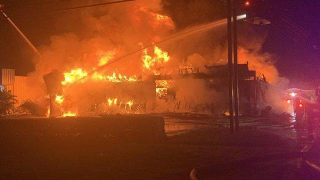Large fire broke out at an Advanced Auto Parts shop in North Myrtle Beach early Friday morning. Photo from North Myrtle Beach Fire Twitter