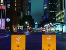 Fayetteville Street barricades ahead of weekend protests over Breonna Taylor. Photo taken 9/26, Friday night.