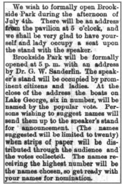 Newspaper clipping formally announcing the opening of Brookside Park on July 4.