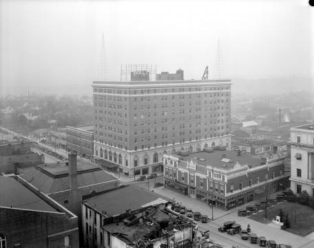 Sir Walter Hotel on Fayetteville Street, circa 1925. (Image courtesy of the State Archives of North Carolina)