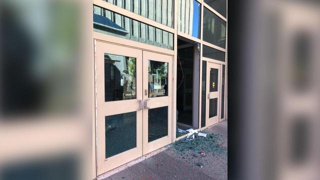 Broken windows at Wake County Public Safety Center