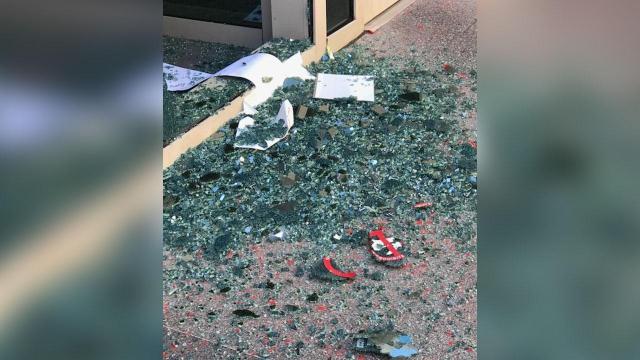 Door, window damage at Wake County Public Safety Center